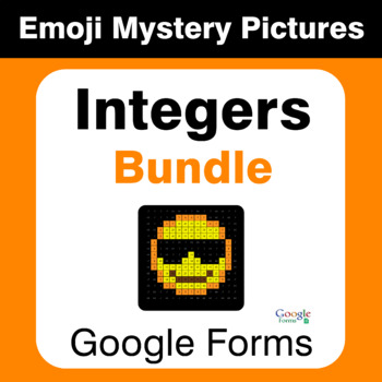 Integers Emoji Mystery Pictures Bundle - Google Forms