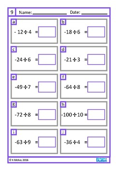 Integers Equations Autism Special Education