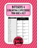 Integers & Evaluating Algebraic Expressions mini quiz