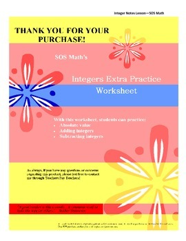 Integers Extra Practice Worksheet