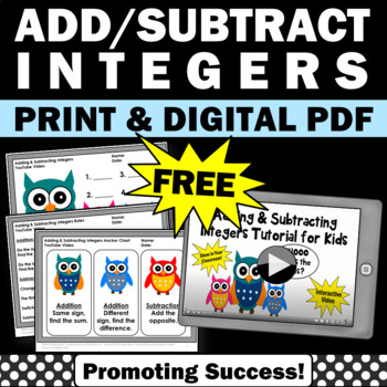 FREE Adding and Subtracting Integers Worksheets & Video, Integers Activities