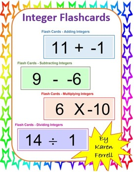 Integers Flash Cards with Microsoft Excel
