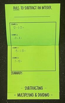 Integers (Foldable)
