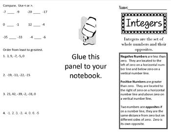 Integers Print n' Fold (Foldable) Interactive Notebook