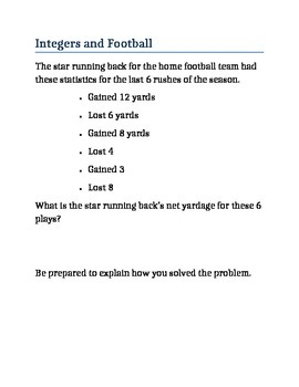 Integers, Football, and Models