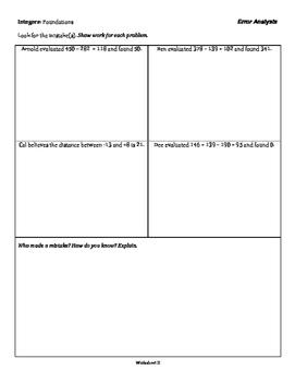 Integers: Foundations - Error Analysis - 3 Tiers