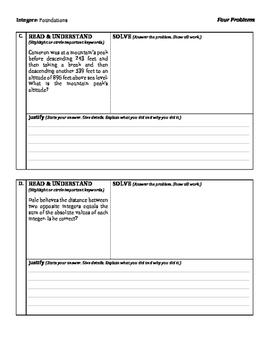 Integers: Foundations - Four Tasks