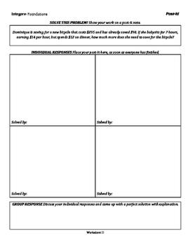 Integers: Foundations - Group Activities - Tiered