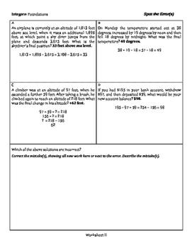 Integers: Foundations - Spot the Error - 3 Tiers
