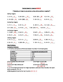 Integers GRADE 8 -ADD, SUBTRACT, MULTIPLY, DIVIDE- ANSWER KEY
