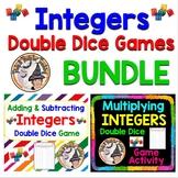 Integers Game BUNDLE Adding Subtracting Multiplying Double Dice Partner Activity