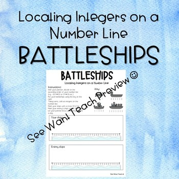 Integers Game - Locating integers on a number line BATTLESHIPS