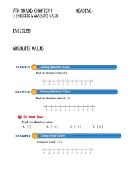 Integers Guided Notes Big Ideas Red Accel: 7th Grade Chapter 1