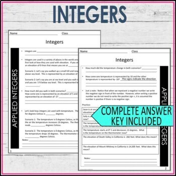 Integers Guided Notes - Integers Notes