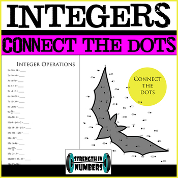 Integers Halloween Connect the Dots Activity for Interactive Notebook