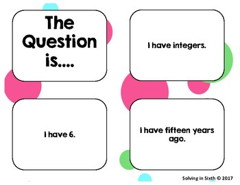 Integers: I Have, Who Has?