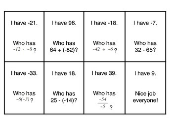 Integers - I Have, Who Has Game