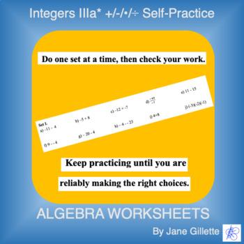Integers IIIa*:  +/-/*/÷ Self-Practice