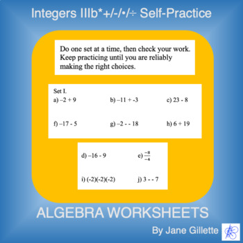 Integers IIIb*:  +/-/*/÷ Self-Practice
