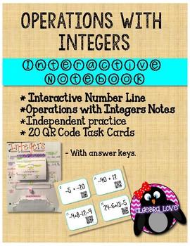 Integers INB and Movable Number Line + 20 QR Code Task Cards