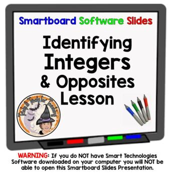 Integers Identify and Opposites Negative Positive Number L