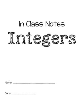Integers In Class and Take Home Notes