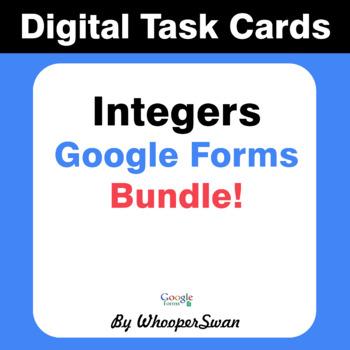 Integers - Interactive Digital Task Cards - Google Forms [Bundle]