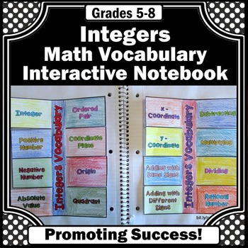 Foldable Integer Review, Interactive Notebook, 6th Grade Math Review Practice