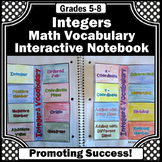 Integer Vocabulary Activity, Integers Interactive Notebook
