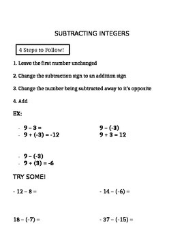 Integers Introduction (Notes)