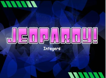 Integers Jeopardy Review Game Middle School Math By The