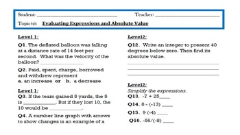 Integers Learning Goal Scale