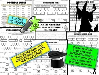 Integers Math Mystery Activity - Add, Subtract, Multiplying & Dividing Integers