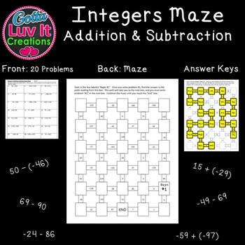 Integers : Integer Operations Adding and Subtracting Integers 2 Mazes