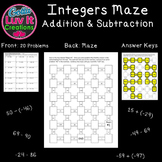 Adding Integers and Subtracting Integers 2 Mazes Integer O