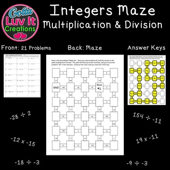 Integers : Integer Operations Multiplying and Dividing Integers Mazes