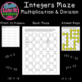 Multiplying Integers and Dividing Integers Math Maze