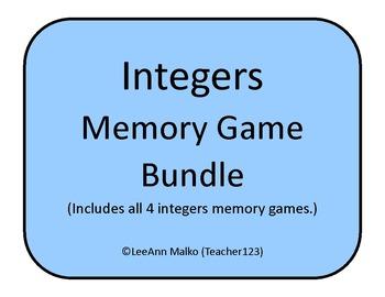 Integers Memory Game BUNDLE