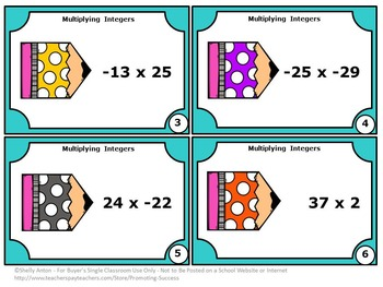 Multiplying Integers Task Cards, Middle School Math Games