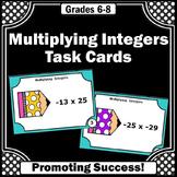 6th Grade Math Review Activity, Integer Task Cards, Multiplication