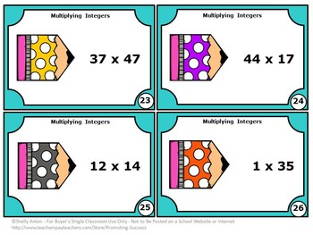 6th Grade Math Review Activity, Integer Task Cards, Multiplication