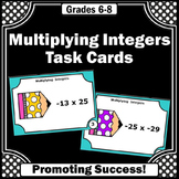 Multiplying Integers Task Cards, 6th Grade Math Review Centers