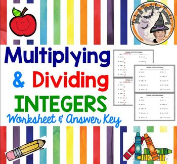 Integers Multiply and Divide Practice Worksheet Multiplyin