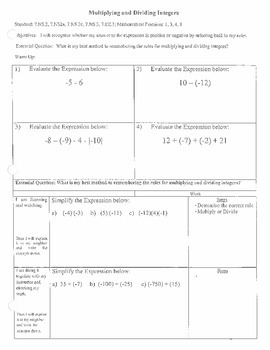 Integers - Multiplying and Dividing (7.NS.2)