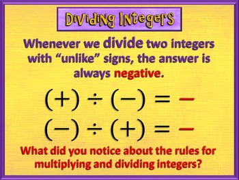Multiplying and Dividing Integers Made Easy (PowerPoint Only)
