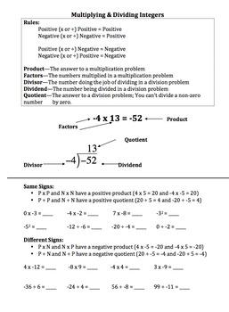 Integers (Multiplying and Dividing): Notes, Worksheet, Assessment