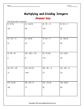 Integers:  Multiplying and Dividing Riddle