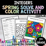 Integers No Prep Solve and Color Activity - Spring Theme