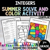 Integers No Prep Solve and Color Activity - Summer Theme