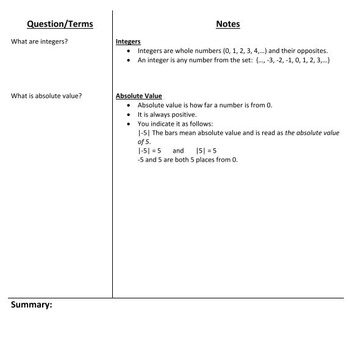 Integers Notes - 7th Grade Common Core